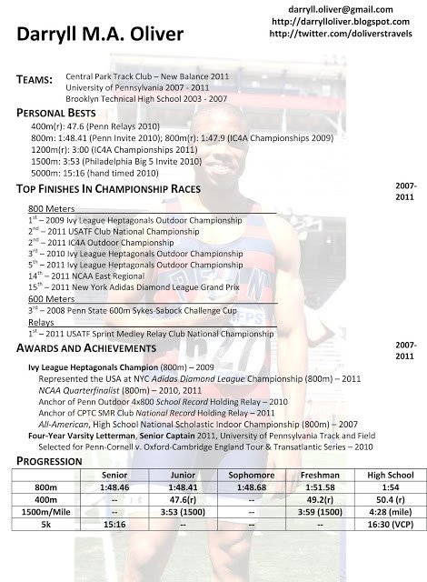 Student athlete Resume Template Darryll Oliver athletic Resume