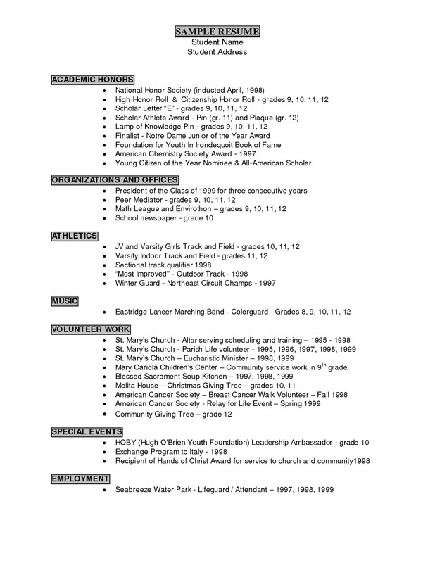 Student athlete Resume Template Resume Writing Career Services