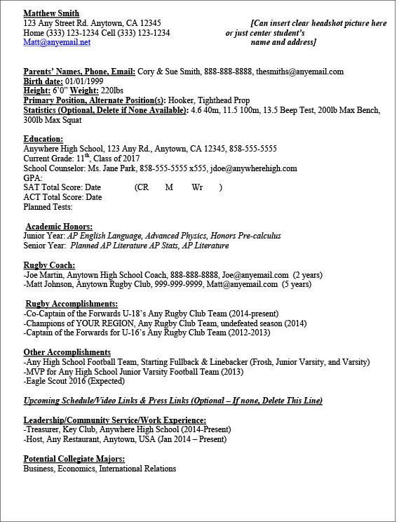 Student athlete Resume Template Sample Rugby Recruit athlete Resume
