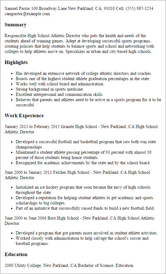 Student athlete Resume Template Sports Resume for College