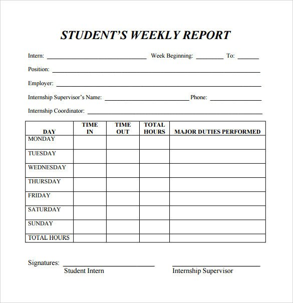 Student Progress Report Template 26 Sample Weekly Report Templates Docs Pdf Word Pages