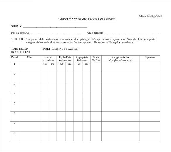 Student Progress Report Template Progress Report Template 29 Free Word Pdf Google Docs
