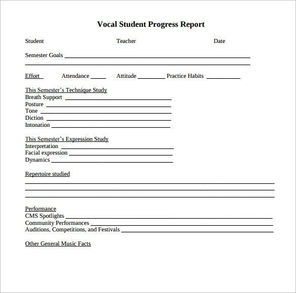 Student Progress Report Template Sample Student Progress Report 17 Documents In Pdf