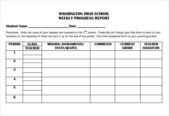 Student Progress Report Template Sample Weekly Progress Report 13 Documents In Pdf Word