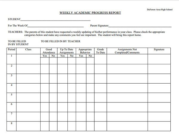 Student Progress Report Template Student Weekly Progress Report Template