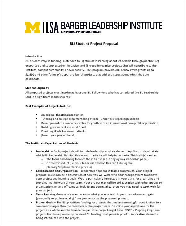 Student Project Proposal Example 14 Student Project Proposal Templates Pdf Doc