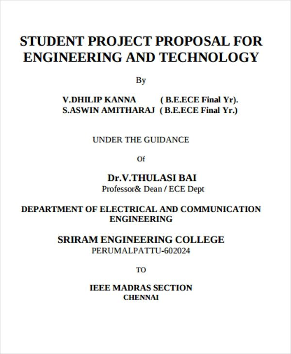 Student Project Proposal Example 29 Project Proposal Samples
