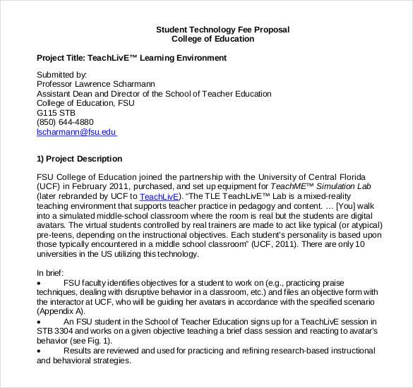 Student Project Proposal Example 47 Project Proposal Templates Doc Pdf