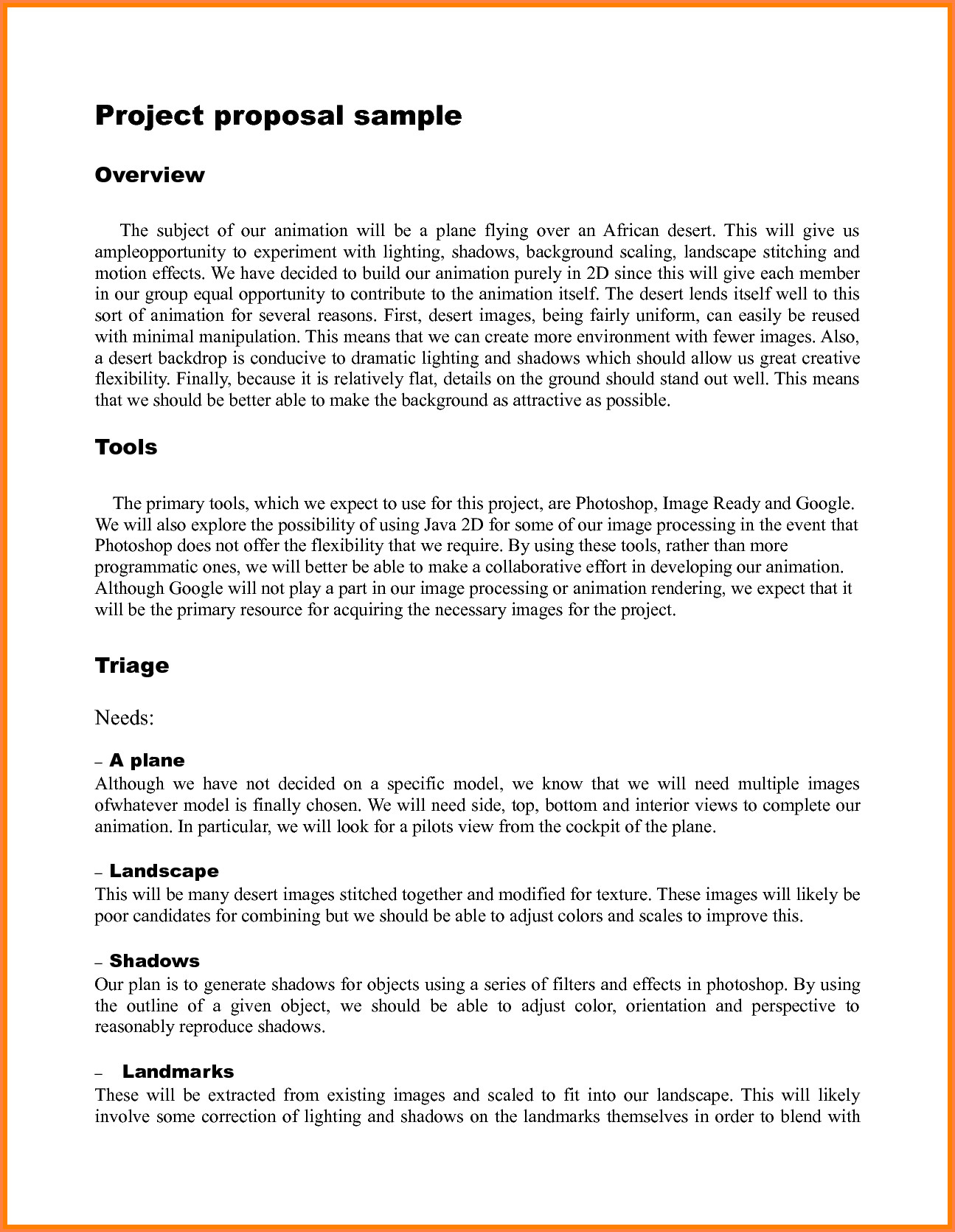 Student Project Proposal Example 9 Student Project Proposal Example