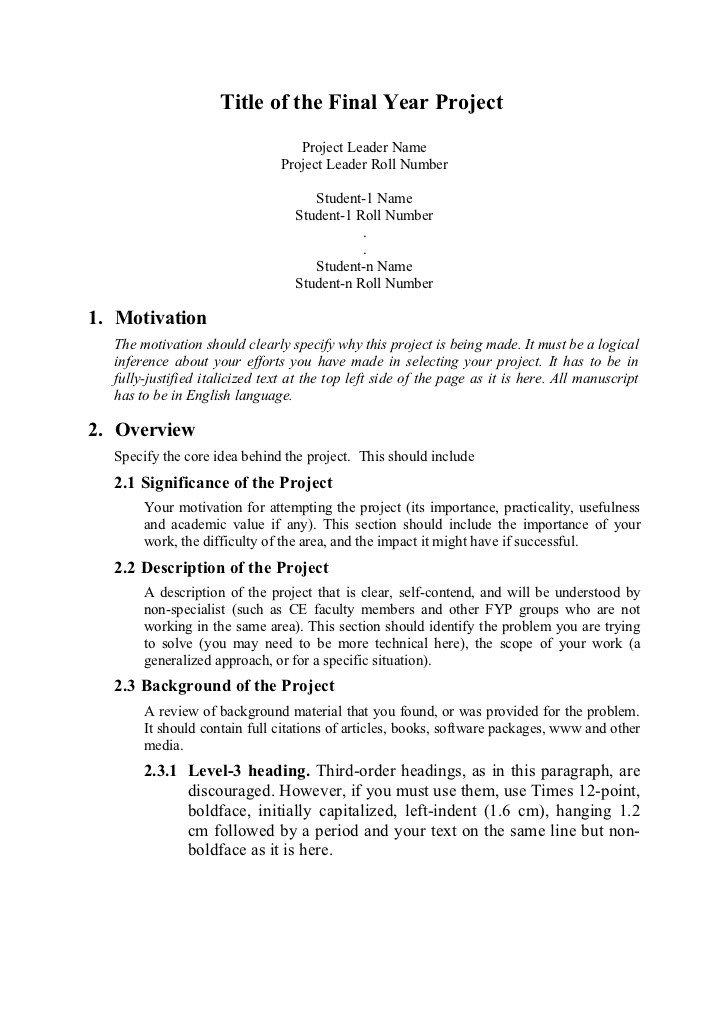 Student Project Proposal Example Proposal format