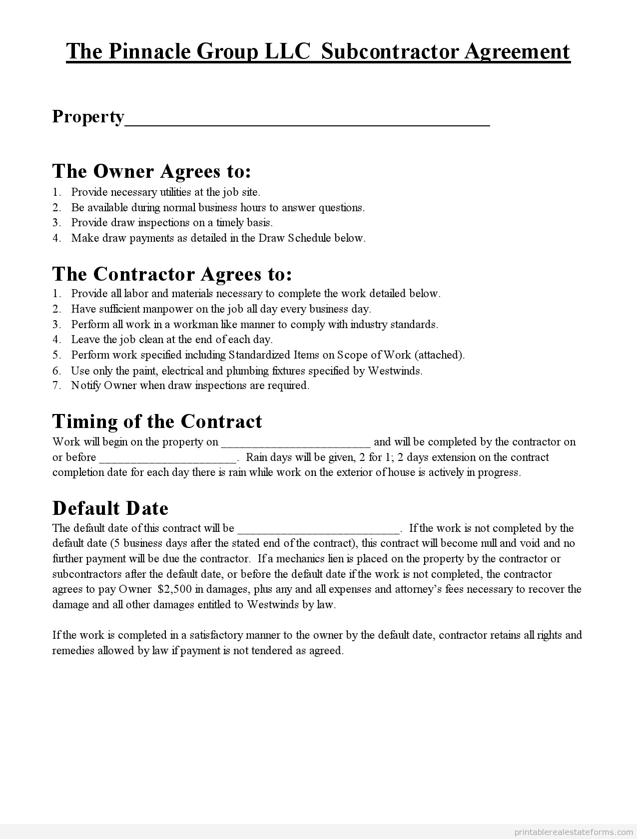 Subcontractor Agreement Template Free Free Printable Subcontractor Agreement form