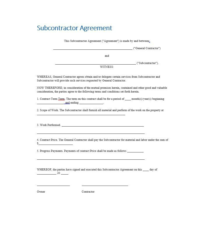 Subcontractor Agreement Template Free Need A Subcontractor Agreement 39 Free Templates Here