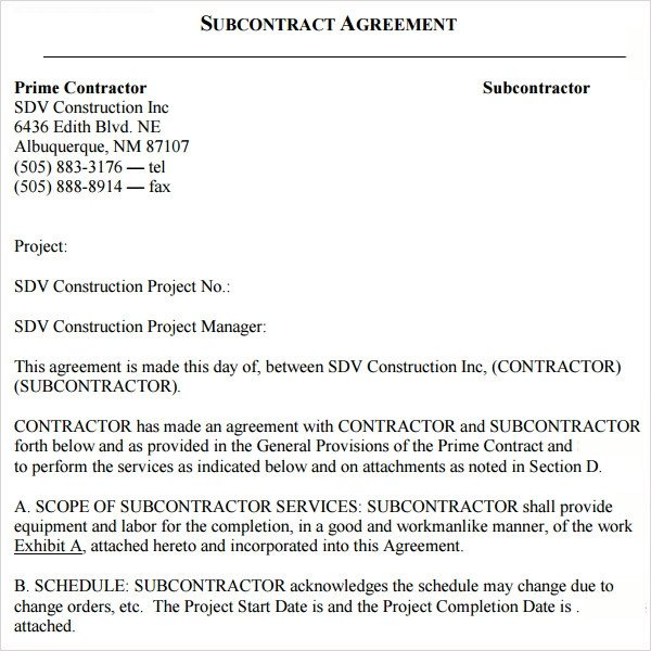 Subcontractor Agreement Template Free Sample Subcontractor Agreement 17 Free Documents