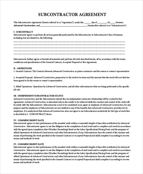 Subcontractor Agreement Template Free Sample Subcontractor Agreement 9 Examples In Pdf Word