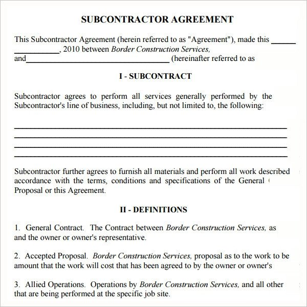 Subcontractor Agreement Template Free Subcontractor Agreement 13 Free Pdf Doc Download