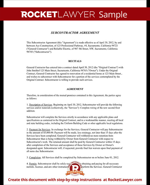 Subcontractor Agreement Template Free Subcontractor Agreement Contract form