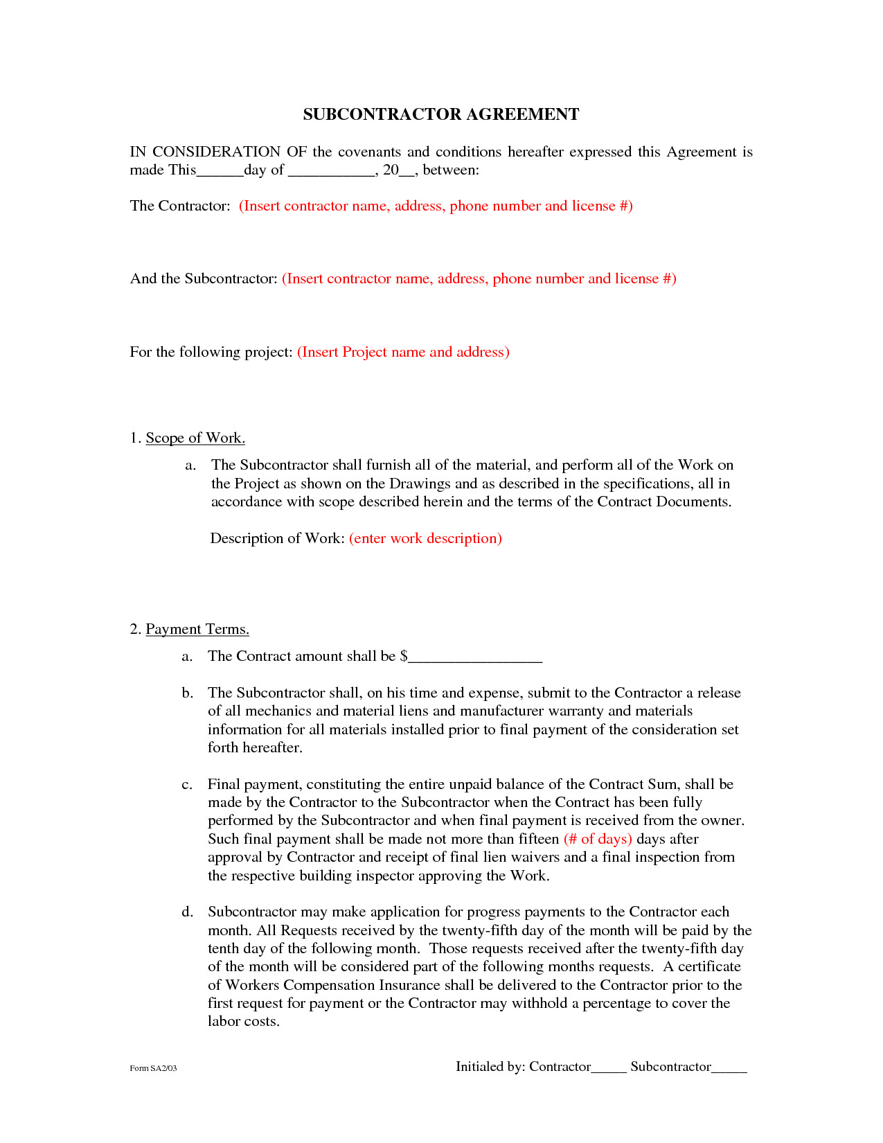 Subcontractor Agreement Template Free Subcontractor Agreement forms by Beunaventuralongjas