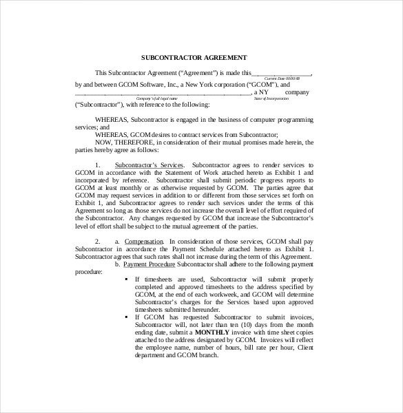 Subcontractor Agreement Template Free Subcontractor Agreement
