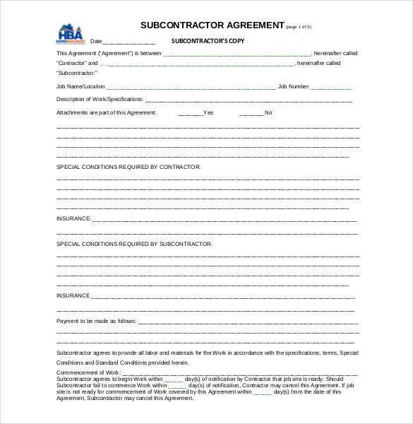 Subcontractor Agreement Template Free Subcontractor Agreement Template