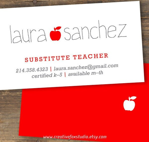 Substitute Teachers Business Cards 56 Teachers Business Cards Ai Ms Word Publisher