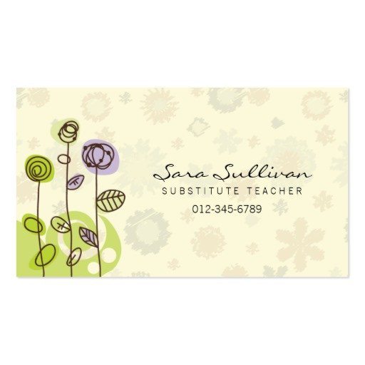 Substitute Teachers Business Cards Substitute Teacher Business Card Doodle Flowers