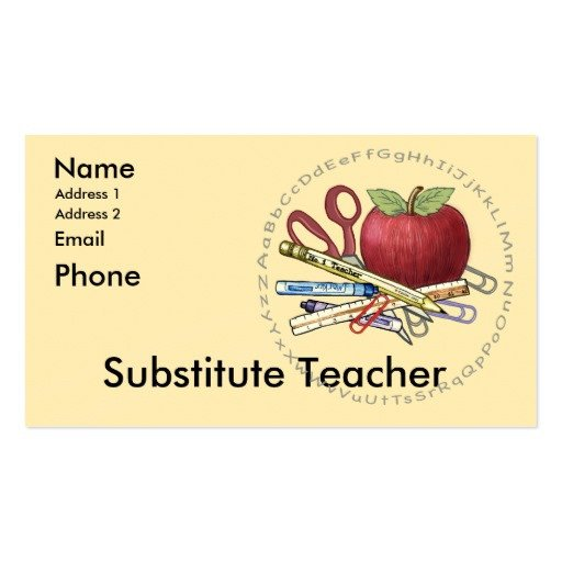 Substitute Teachers Business Cards Substitute Teacher Business Card