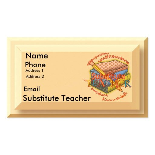 Substitute Teachers Business Cards Substitute Teacher Motto Double Sided Standard Business