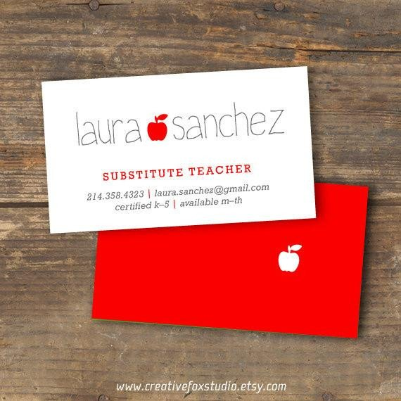 Substitute Teachers Business Cards Teacher or Substitute Business Card Applelicious Tutor