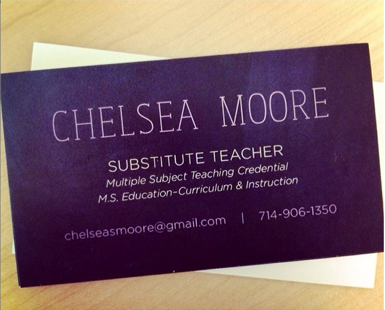 Substitute Teachers Business Cards Teacher Substitute Teacher or Tutor Chalkboard Business Card