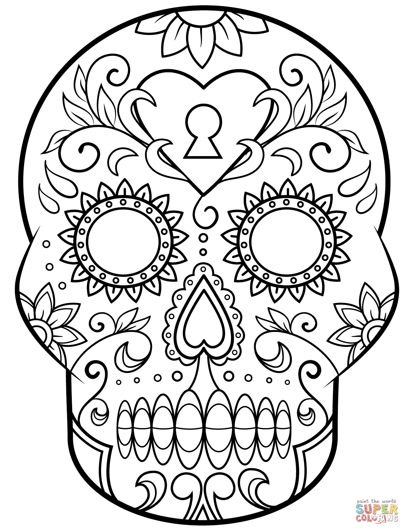 Sugar Skull Drawing Template Day Of the Dead Sugar Skull Coloring Page