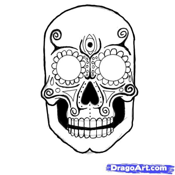 Sugar Skull Drawing Template How to Draw A Sugar Skull Step by Step Skulls Pop