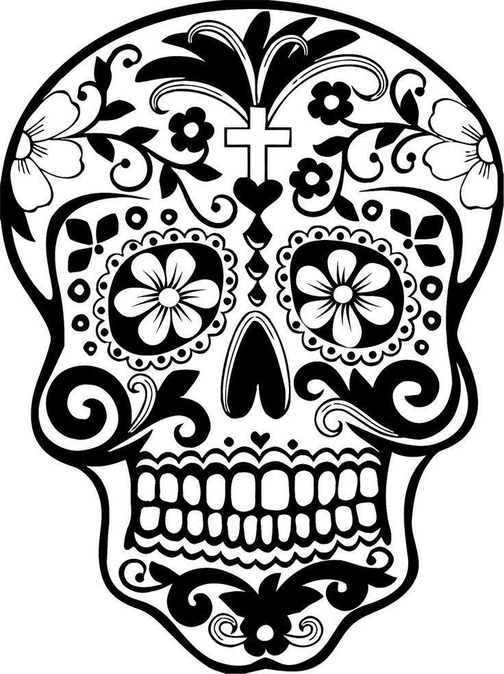 Sugar Skull Drawing Template Skull Art Cliparts