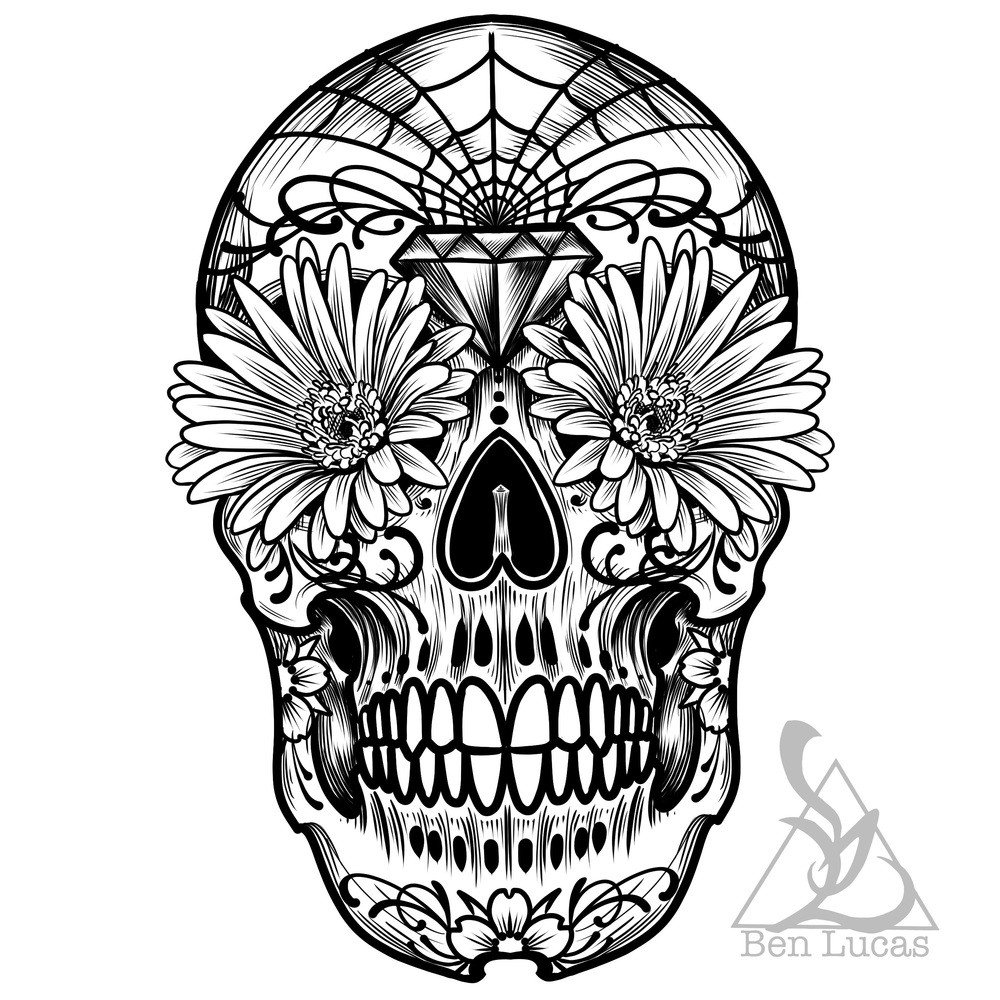 Sugar Skull Drawing Template Sugar Skull Clipart Outline Pencil and In Color Sugar