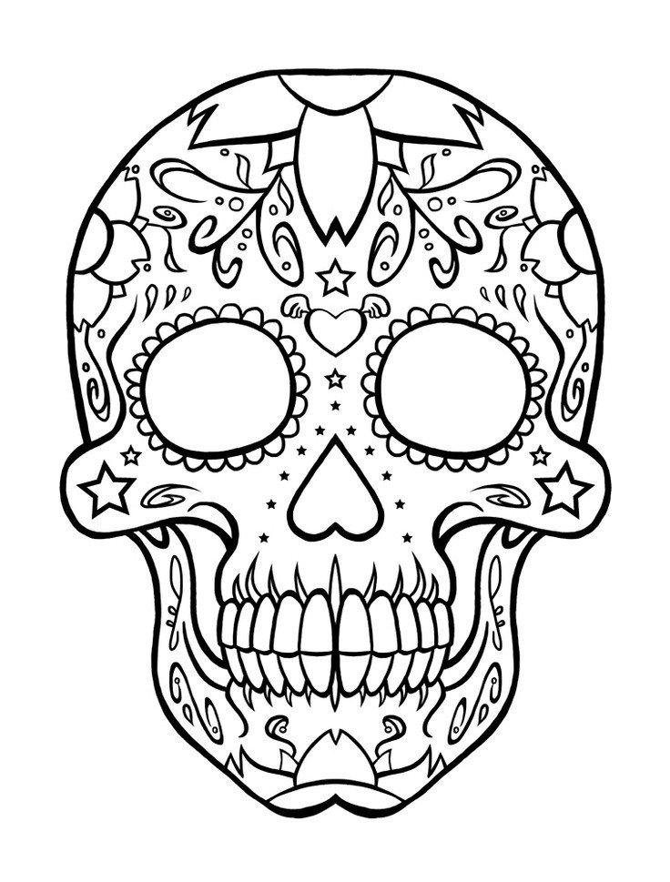 Sugar Skull Drawing Template Sugar Skull Coloring Page Az Coloring Pages