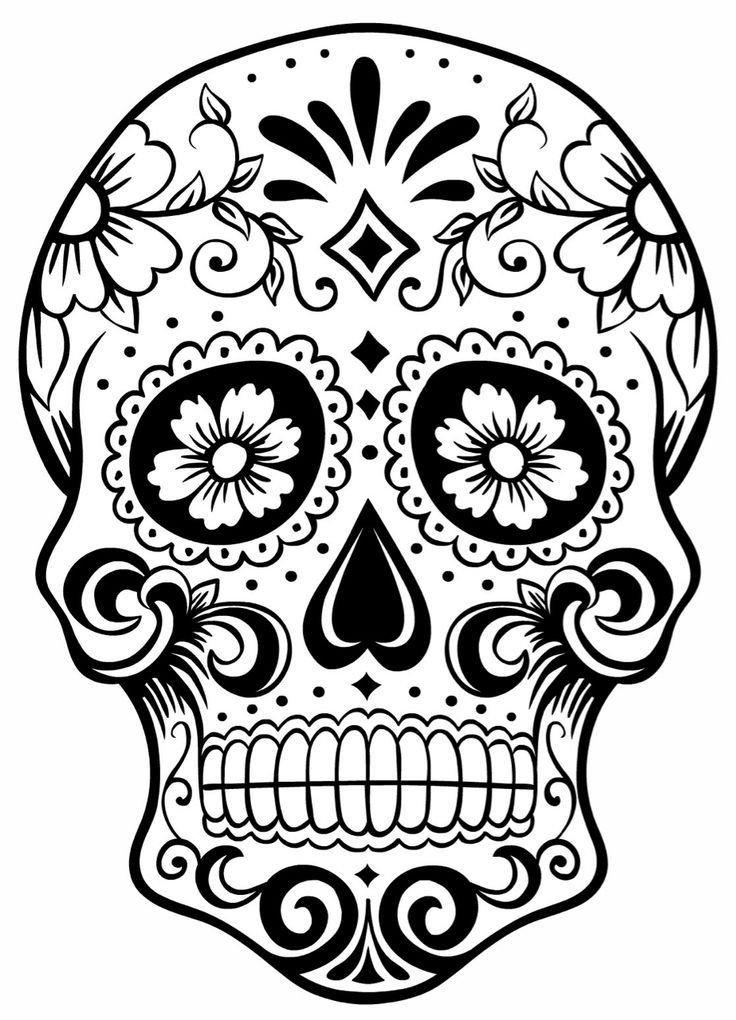Sugar Skull Drawing Template Sugar Skull Coloring Page Coloring Home