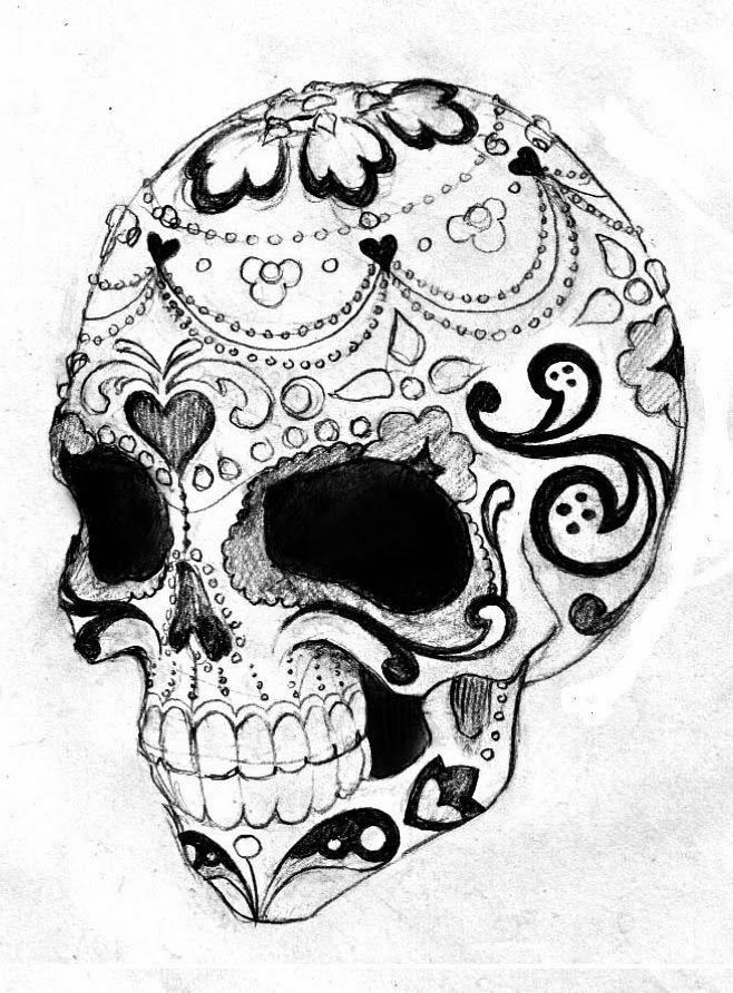 Sugar Skull Drawing Template Sugar Skull Tattoo Stencil 19 Dia De Los Muertos