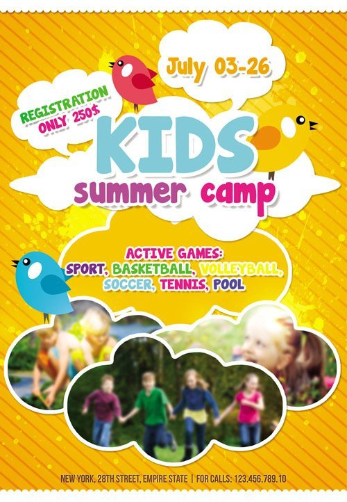 Summer Camp Flyer Template Flyer Template Kids Summer Camp Cover