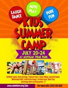 Summer Camp Flyer Template Summer Poster Templates