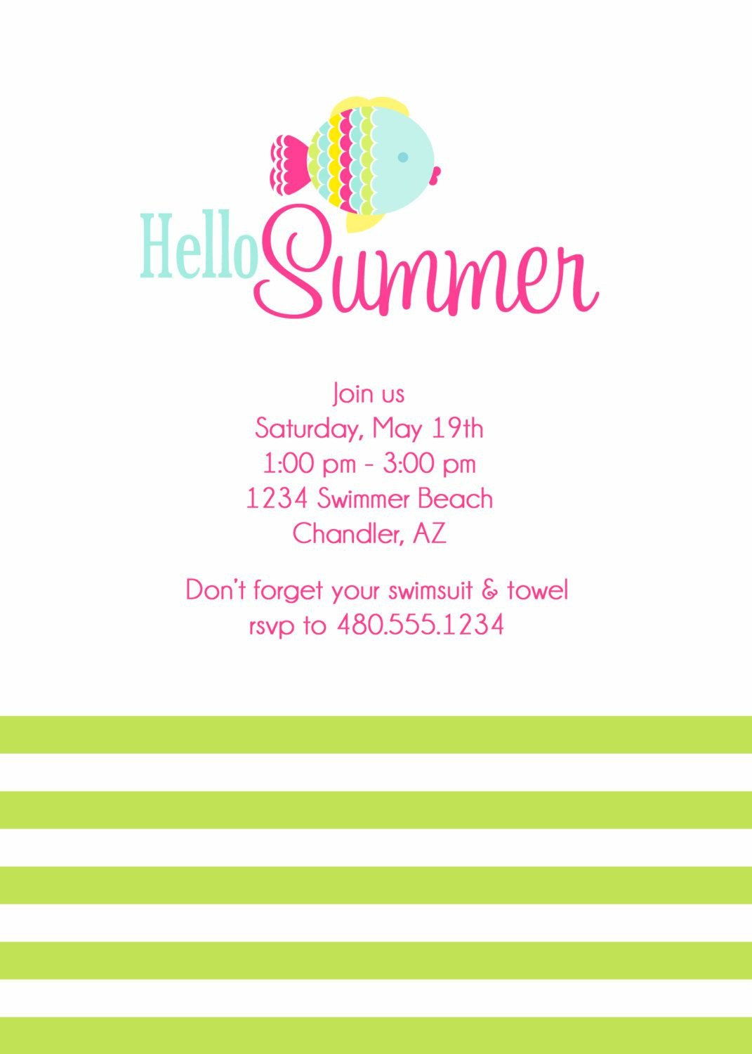 Summer Party Invites Templates Card Template Summer Party Invitations Card Invitation