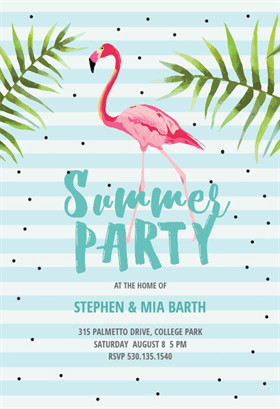 Summer Party Invites Templates Chill with Flamingo Free Printable Summer Party