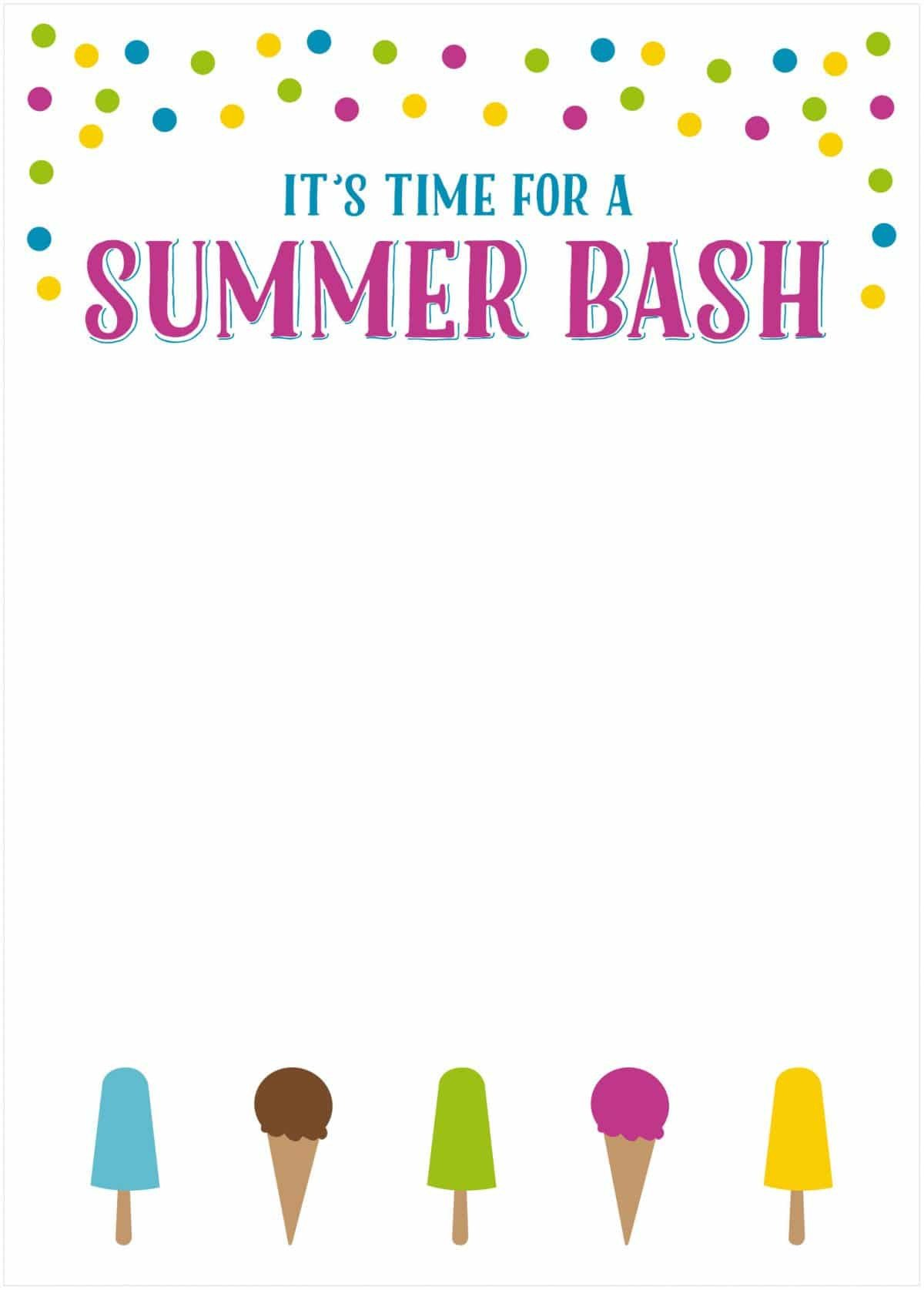 Summer Party Invites Templates Free Summer Party Invitations somewhat Simple