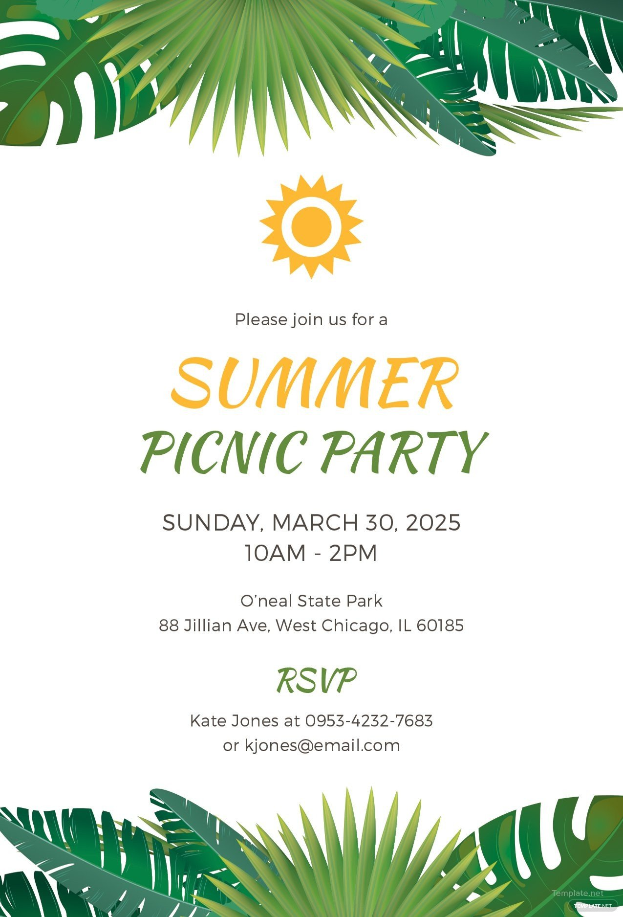 Summer Party Invites Templates Free Summer Picnic Party Invitation Template In Microsoft