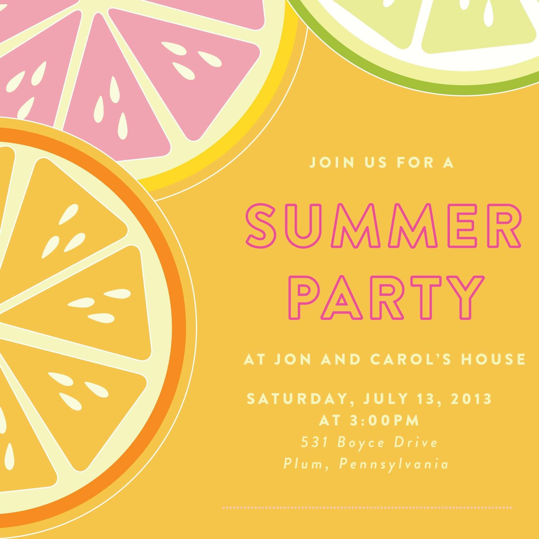 Summer Party Invites Templates Summer Bbq Party Invitation Template