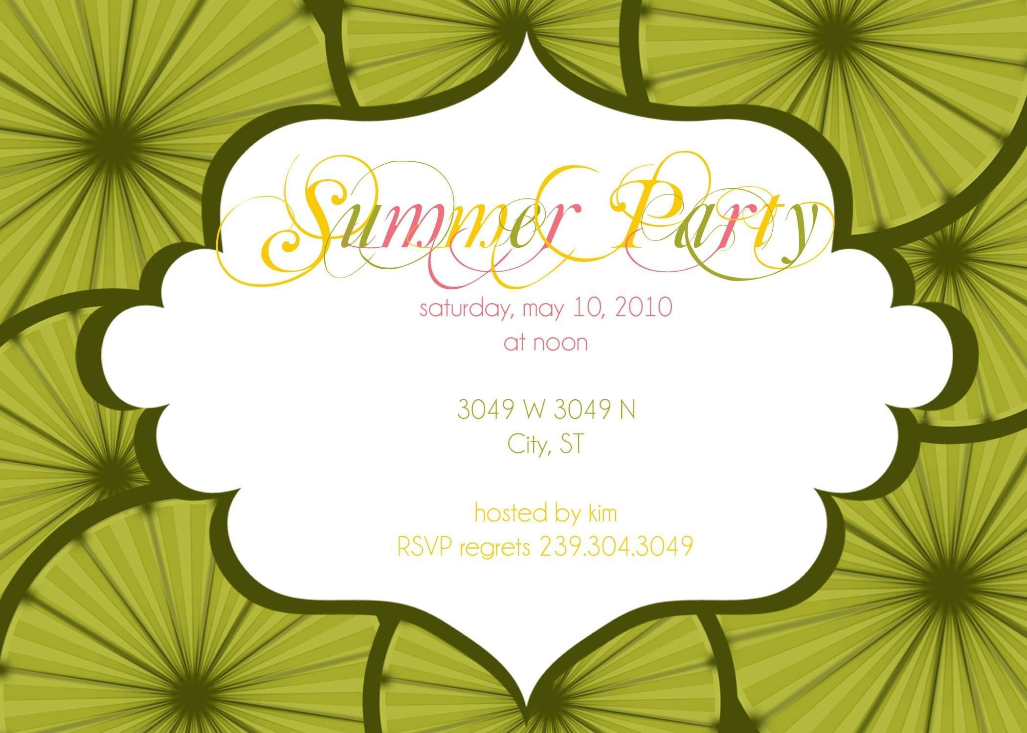 Summer Party Invites Templates Summer Party Invitation Wording Samples