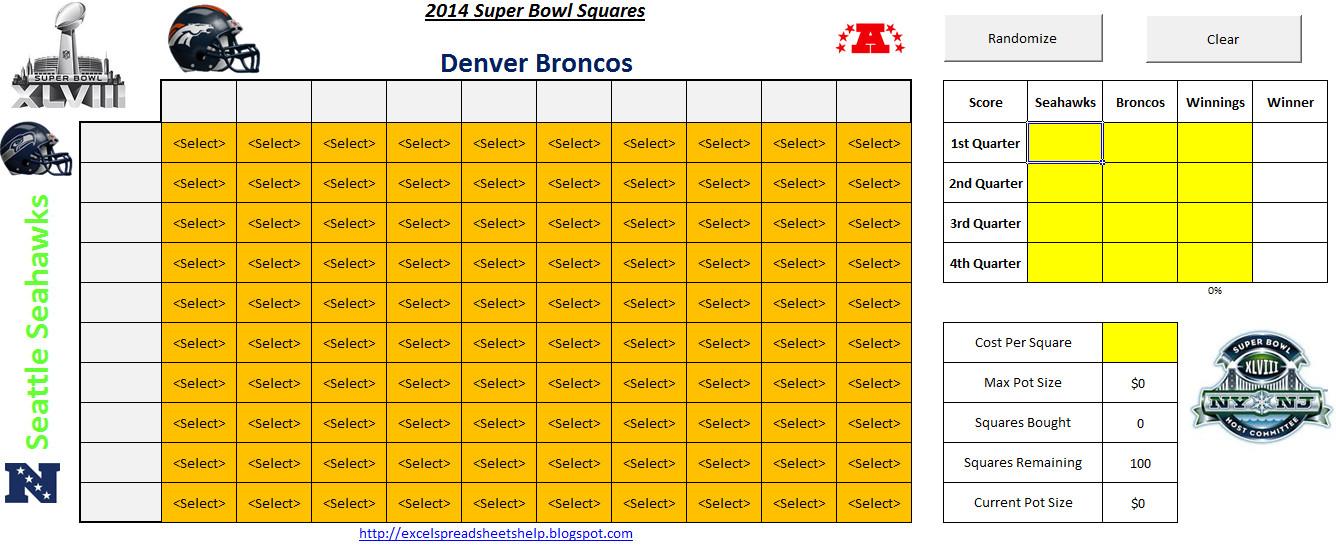 Super Bowl Squares Template Excel 2014 Super Bowl Squares Spreadsheet