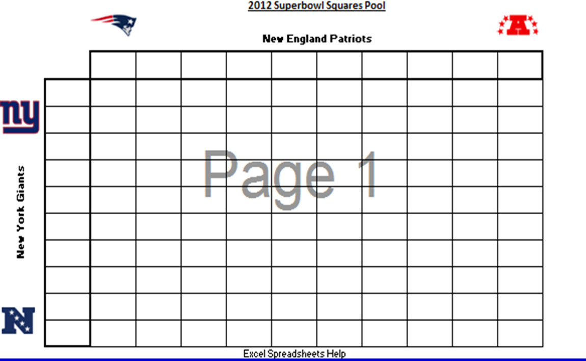 Super Bowl Squares Template Excel Excel Spreadsheets Help Printable 2012 Superbowl Squares