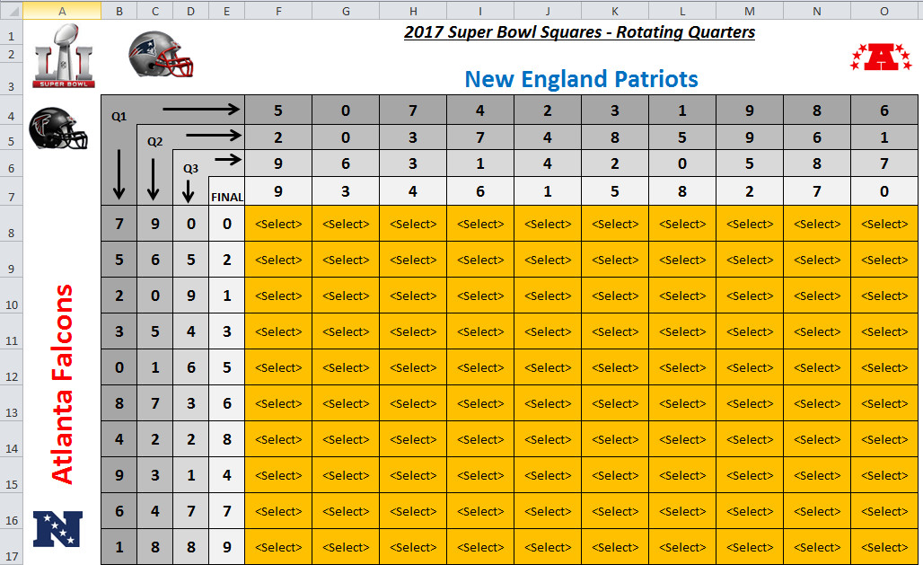 Super Bowl Squares Template Excel Excel Spreadsheets Help Super Bowl Squares Template 2017