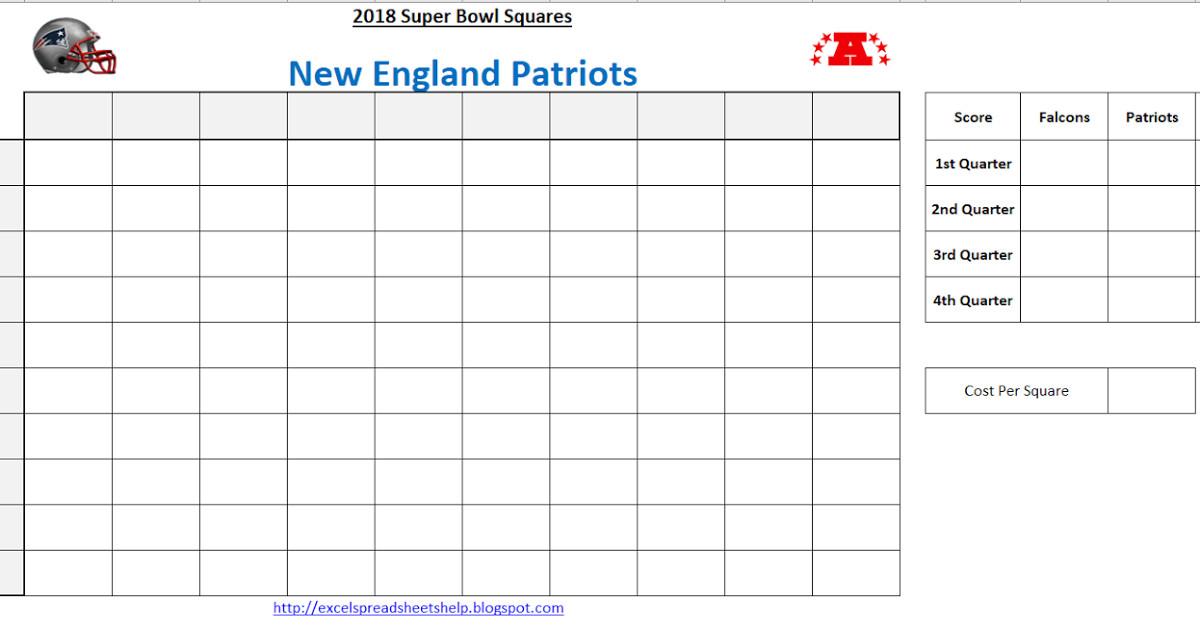Super Bowl Squares Template Excel Excel Spreadsheets Help Super Bowl Squares Template 2018