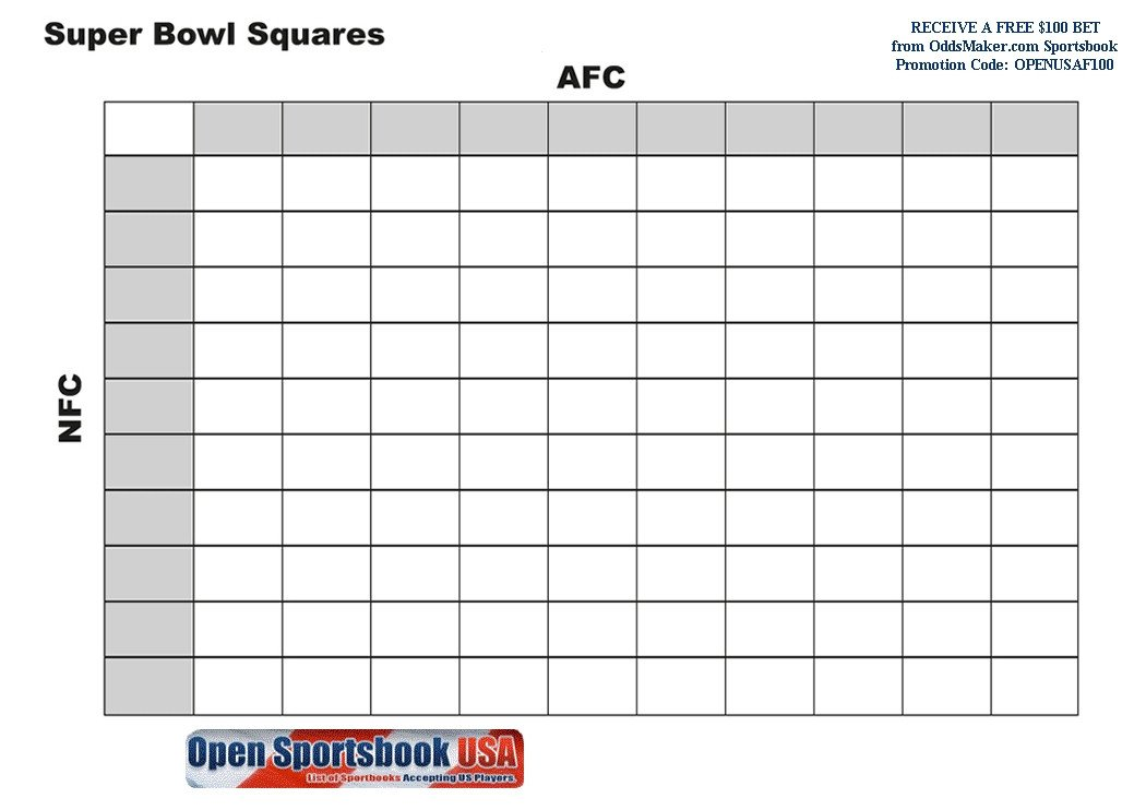 Super Bowl Squares Template Excel Super Bowl Pool Template