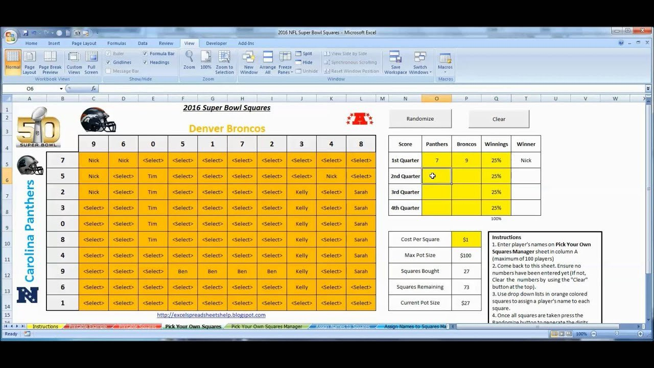Super Bowl Squares Template Excel Super Bowl Squares 2016 Excel Template for Fice Pools